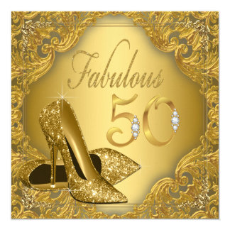 Fancy Gold High Heel Fabulous 50th Birthday Card