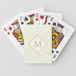 Fancy Gold Marble Look Diamond Monogram Playing Cards