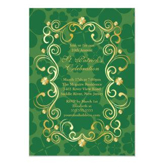 Fancy Gold Shamrock St. Patrick's Party Invitation