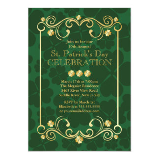 Fancy Gold Shamrock St. Patrick's Party Invitation