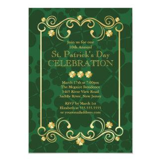 "Fancy Gold Shamrock St. Patrick's Party Invitation 5"" X 7"" Invitation Card"