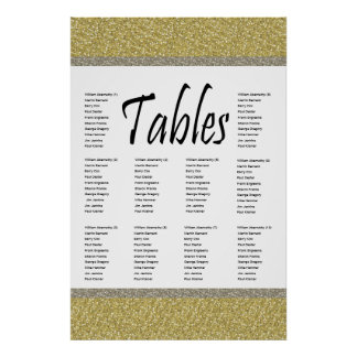 Fancy Gold Silver Glitter Design Seating Chart