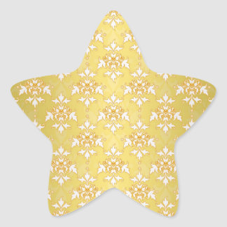 Fancy Gold Yellow Saffron Damask Star Sticker