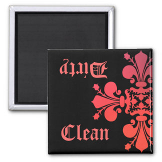 Fancy Goth fleur de lys damask clean dirty Magnet