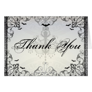 Fancy Gothic Bats Halloween Wedding thank you Card