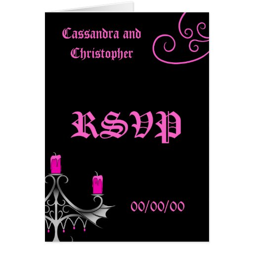 Fancy gothic candelabra hot pink on black wedding greeting cards