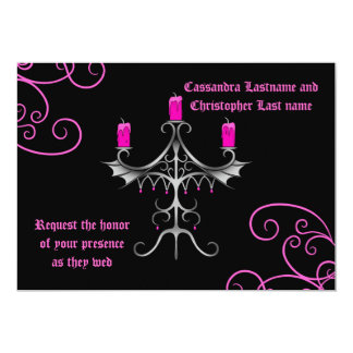 Fancy gothic candelabra hot pink on black wedding 5x7 paper invitation card