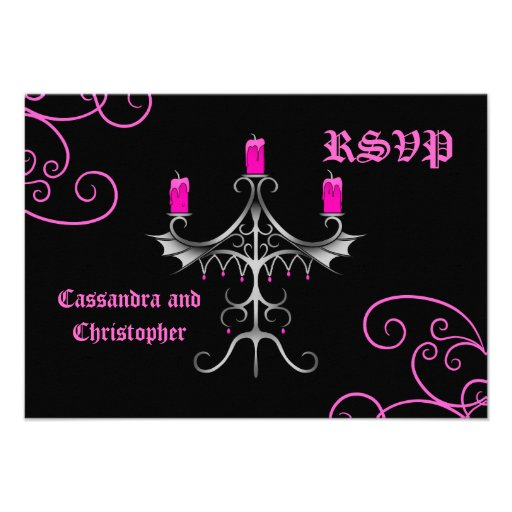 Fancy gothic candelabra hot pink on black wedding custom announcements