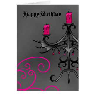 Fancy gothic candelabra in pink on gray birthday greeting card