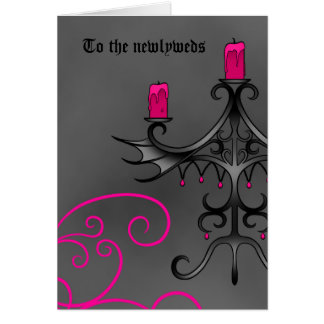 Fancy gothic candelabra in pink on gray newlyweds card