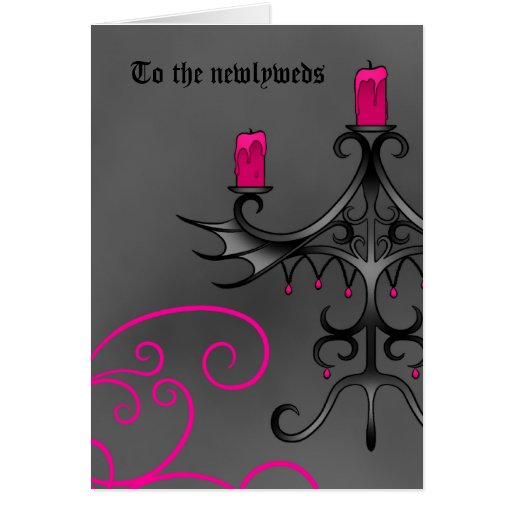 Fancy gothic candelabra in pink on gray newlyweds cards