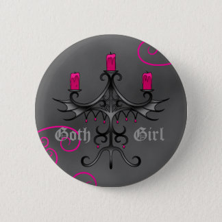 Fancy gothic candelabra on gray grunge 6 cm round badge