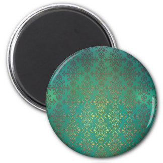 Fancy Green and Gold Damask Fridge Magnet