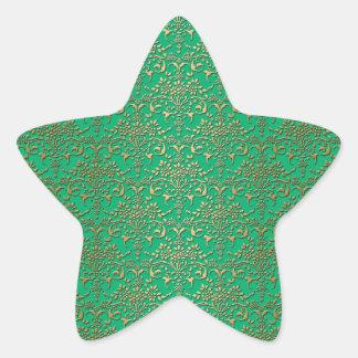 Fancy Green and Gold Damask Pattern Star Sticker