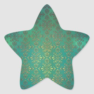 Fancy Green and Gold Damask Star Sticker