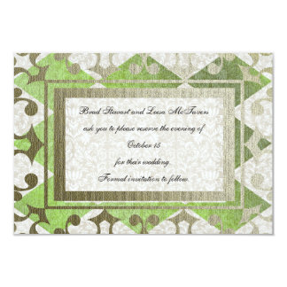 Fancy Green Gold Harlequin Medieval save the date 9 Cm X 13 Cm Invitation Card