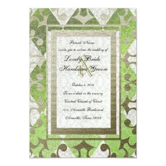 Fancy Green Gold Harlequin Medieval Wedding 13 Cm X 18 Cm Invitation Card