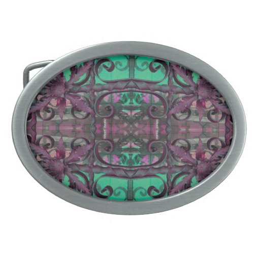 fancy green pink abstract oval belt buckle