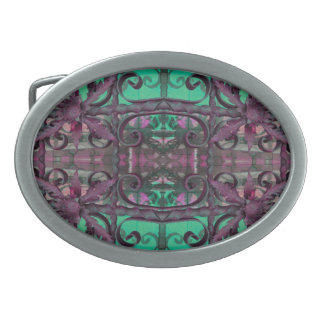 fancy green pink abstract belt buckles