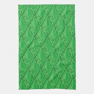 Fancy Green Tropical Leaves Tea Towel