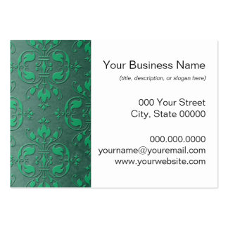 Fancy Green Two Tone Damask Business Card Templates