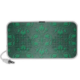 Fancy Green Two Tone Damask iPod Speakers