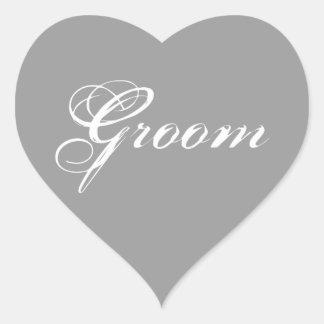 Fancy Groom on Grey Heart Stickers