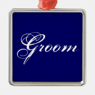 Fancy Groom on Navy Christmas Ornament