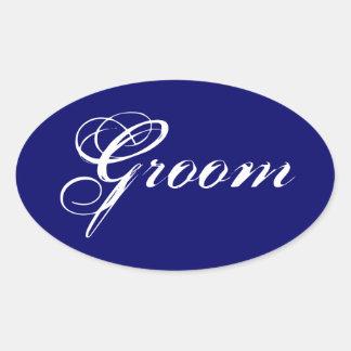 Fancy Groom on Navy Oval Stickers