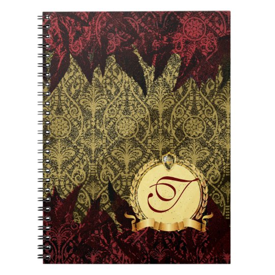 Fancy Grunge Damask Gold and Red with Monogram Notebooks