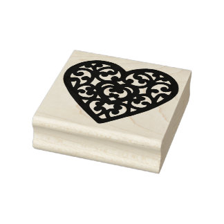 Fancy Heart Shape Rubber Art Stamp