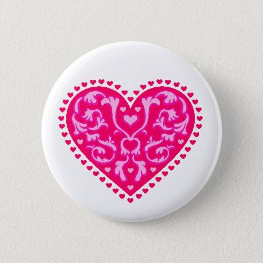 Fancy Hearts 6 Cm Round Badge