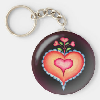 FANCY HEARTS by SHARON SHARPE Basic Round Button Key Ring