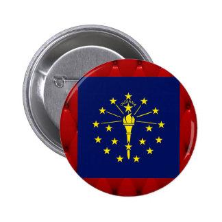 Fancy Indiana Flag on red velvet background 6 Cm Round Badge