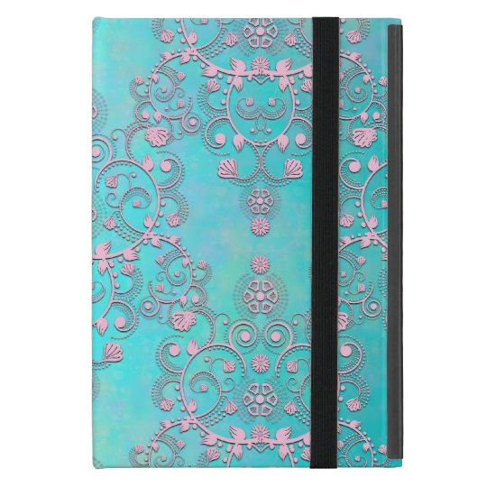 Fancy Intricate Damask Pattern Teal and Pink Case