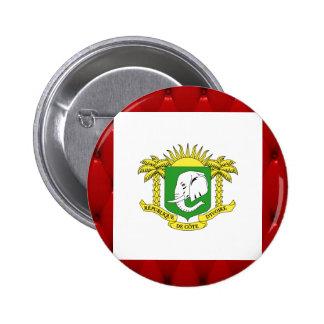 Fancy Ivory Coast Flag on red velvet background 6 Cm Round Badge