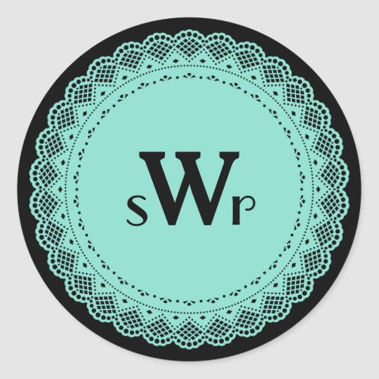 Fancy Lace Custom Monogram Stickers