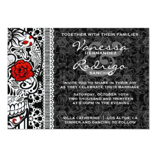Fancy Lace Sugar Skull Day of the Dead Invite