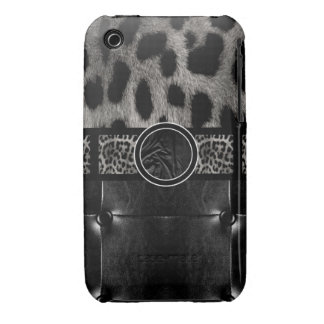 Fancy Leopard Leather Monogram iPhone 3 Cover