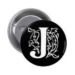 Fancy Letter J 6 Cm Round Badge