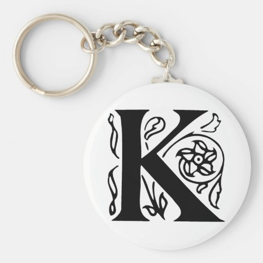 Fancy Letter K Basic Round Button Key Ring