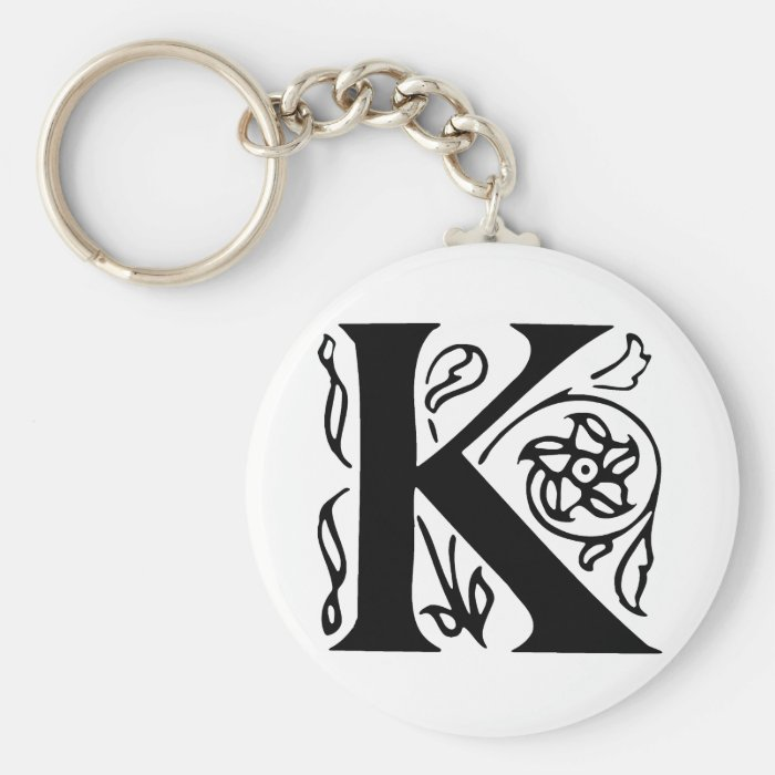 Fancy Letter K Basic Round Button Key Ring
