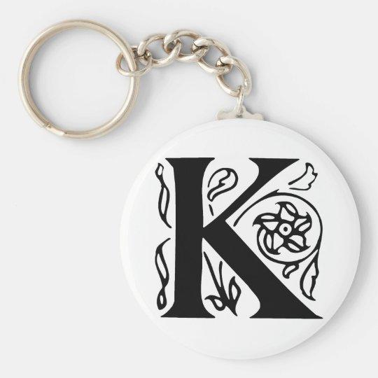 Fancy Letter K Key Ring