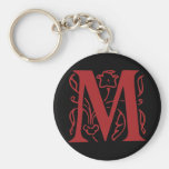Fancy Letter M Basic Round Button Key Ring