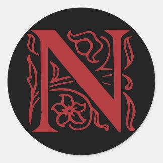 Fancy Letter N Round Sticker