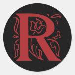Fancy Letter R Round Sticker