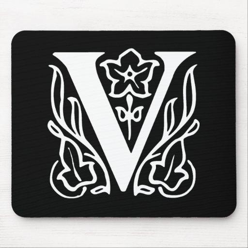 Fancy Letter V Mouse Pads