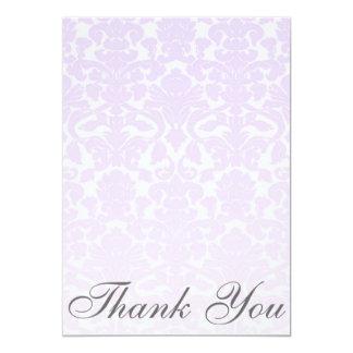 Fancy Light Purple Damask Thank You Card / Note 13 Cm X 18 Cm Invitation Card