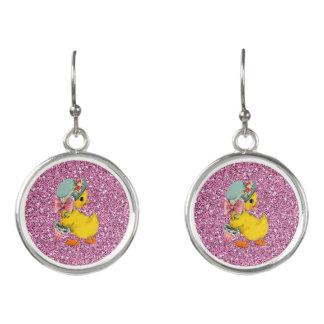 Fancy Little Vintage Easter Chick Pink FauxGlitter Earrings