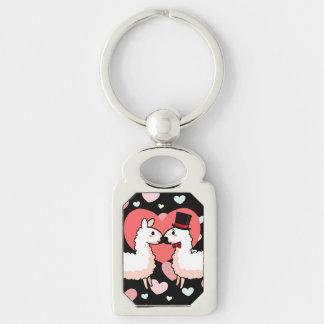 Fancy Llama & Little Llama Silver-Colored Rectangle Key Ring